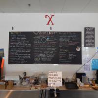 Xinia's Bakery chalkboard menu